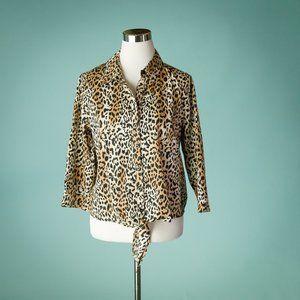 Chicos 1/ M Leopard Cheetah Animal Print Top